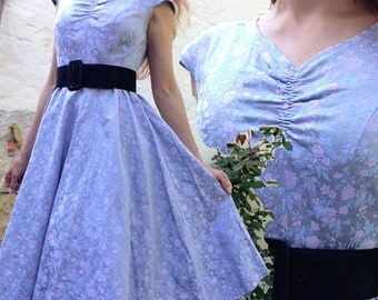 1950s French VTG Blue pink floral chinese silk brocade full circle dress Sz S