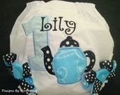 PERSONALIZED 1ST BIRTHDAY Diaper Cover Bloomers- Alice in Wonderland Birthday-Tea Pot Bloomers - Appliqued One and Teapot in Black and Blue