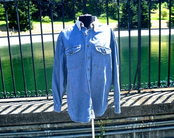 Vintage Chambray Denim Button-Down Shirt with Tan Collar and Elbow Patches by Woolrich® Men's Size XL