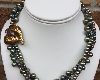 Green Pearl Multi Strand Woven statement Necklace