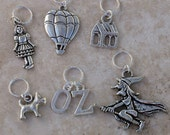 Stitch Markers - Wizard of Oz #2, Set of 6, Fits up to US 10.5 and UK 3 Knitting Needles, No Snag, Closed Ring, Knit or Crochet