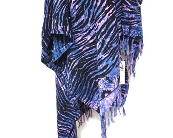 batik zebra print tie dye purple and pink vintage 90s early 1990s handmade unisex beach wrap cover all fringe cotton sarong vacation swim os