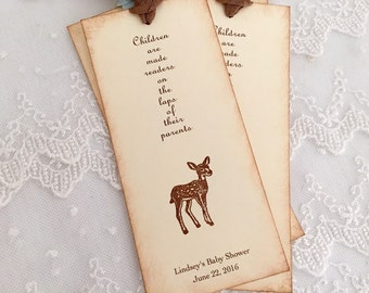 Deer Bookmarks Personalized Baby Shower Favors Neutral You Choose Ribbon Color