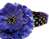 Halloween Polka Dot Dog Collar with Flower Accessory
