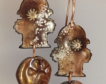 SALE! Enamel and Raku Earrings - Paws and Hydrants, copper