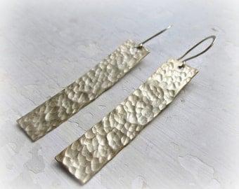 Hammered Brass Earrings, Gold Bar Earrings, Metalwork Jewelry, Textured Earrings, Dangle Earrings, Gold Earrings, Natural Brass Earrings