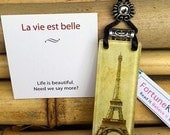 Adjustable Necklace with Crystal by FortuneKeeper - La vie est belle-Eiffel Tower- Opens to hold your wishes and desires