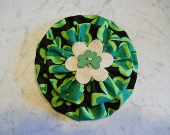 Fabric Flower in St. Patrick's Day Theme with Felt Flower and Shamrock Button