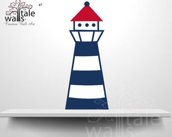 Lighthouse Wall Decal, nautical sailor ship with wall decal for baby boy nursery room, red, navy, nautical decal, navy red decal - SKU07