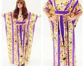 70s Neon Flower Power Caftan- Maxi Boho Hippie Dress, burning man Purple Diva Goddess Gown