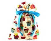 ON SALE -- Reusable Birthday Gift Bag in Cupcake Fabric
