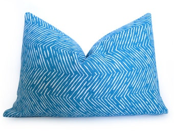 Chevron Pillow Cover - BLUE - 12x18 inch - Decorative Pillow - Flamestitch Pillow - Throw Pillow - Zig Zag - Turquoise - Peacock Blue