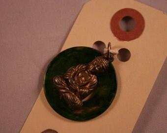Vintage Buddha Charm - Green
