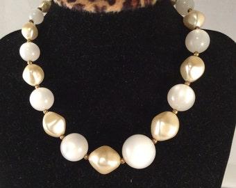 Vintage 1950 Iridescent White Bead Necklace