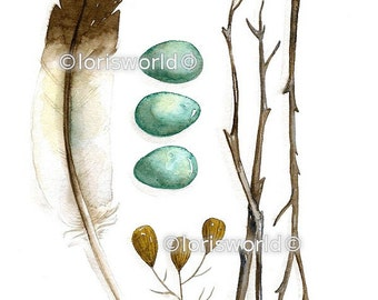 Feather Composition - 5 x 7 archival watercolor print COLLECTION No.18 by Lorisworld