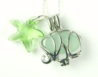 Exclusive STAINLESS STEEL Pale Green Elephant Jewelry Genuine Sea Glass Necklace With Swarovksi Starfish Jewelry