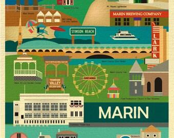 Marin County Map Print, Marin Skyline, California Vertical Collage Print, Marin County Wall Art, Marin Nursery, Loose Petals, style E8-O-MAR