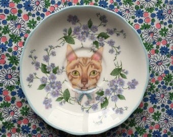 Pretty Kitty and Blue Delicate Floral Vintage Illustrated Plate