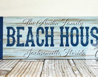 Personalized Family Name Beach House Sign, Beach Sign, Beach House Decor, Cottage Chic Beach Decor
