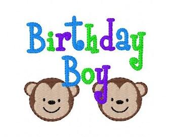 Birthday Boy Monkey Machine 4x4 Embroidery Design // Joyful Stitches