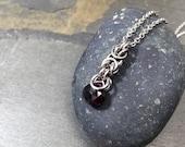 "Signature ""Deirdre"" Necklace Stainless Steel with Rich Oxblood Garnet"