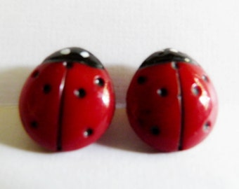 VIntage Red Glass Lady Bug Buttons