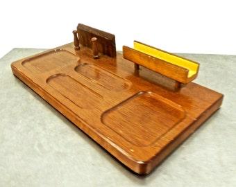 vintage wooden desk tray - 1960s London Leather mid century organizer catchall