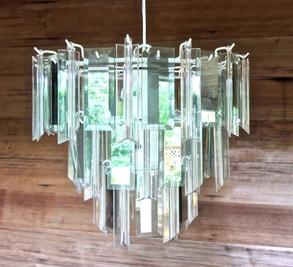 vintage mirrored chandelier 1980s white metal/mirrored glass