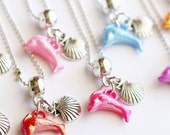 Dolphin Silver Necklace Sea Shell 10 Charm Party Favor Mixed Colors Necklaces, Children's Jewelry, Under the Sea Party Favors, Kids Jewelry