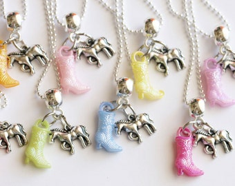 Horse Necklace, Cowgirl Necklace with Boot, Kids Jewelry, Girl Gift, Birthday Party, Kids Jewelry, Children Jewelry