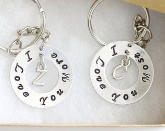 I love you most I love you more Keychain, Personalized Gifts, Hand Stamped Keychain, Initial Keychain, Gift her, Anniversary Gift