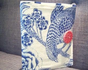 Mini Notepad Storage Coupon Keeper To Do List Portfolio Decorators Fabric Blue Bird Print Square Pattern Interior