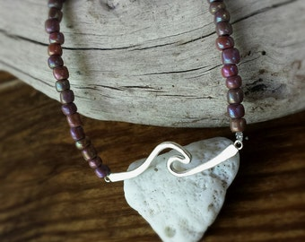 Sterling Silver Wave & Rainbow Brown Seed Beads