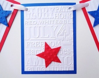 Fourth of July Banner Independence Day Patriotic Party Celebration July 4th Garland Red White and Blue