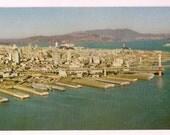 San Francisco Postcard Oakland Bay Bridge Souvenir - Embarcadero Piers Air View - Vintage Postcard California Collectible