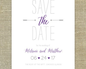 purple and gray Save the Date silver foil or letterpress DEPOSIT LISTING