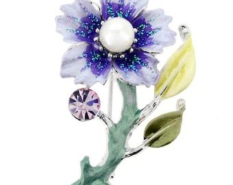 Purple Flower Swarovski Crystal Pin Brooch 1010612