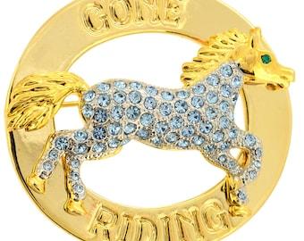 Gone Riding Light Sapphire Crystal Horse Swarovski Crystal Pin Brooch 1011671