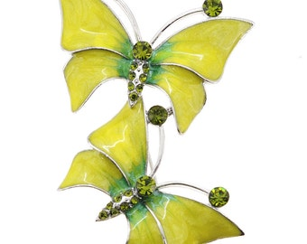 Golden Butterfly Couple Crystal Pin Brooch 1001316