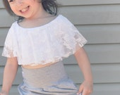 Toddler Crop Top - White Lace - Cotton Jersey - Sizes 1 year to 5 years