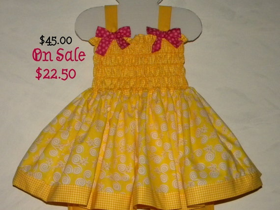 Trunk Show Half Off SALE Sunny Summer Baby-Toddler Yellow Dress, Shirred Halter Bodice, Size 18 month