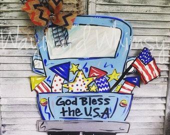 God Bless America Truck with Fireworks Door hanger