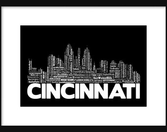 Cincinnati Skyline Typography Print Poster Map Color Black