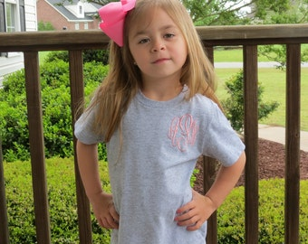 Girls Monogram T-Shirt, Personalized T-Shirt, Monogrammed T-Shirt, Girls Monogrammed Shirt, Toddler Monogrammed Shirt