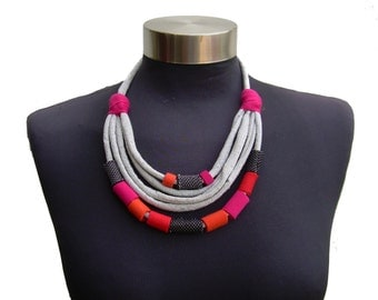 spring bright colors necklace-recycle fabric handmade beads-women textile Jewelry-gray jeans fabric-textile necklace- grey pink red orange
