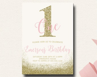 Pink and Gold Birthday Invitation Blush and Gold Glitter One First