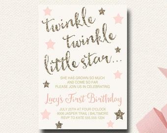 Twinkle Twinkle Little Star Birthday Invitation Blush Gold Glitter