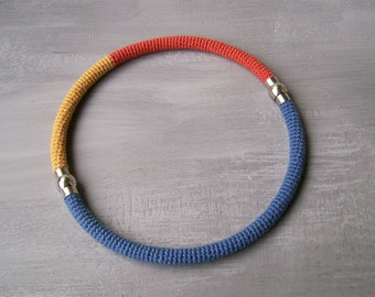 Magnetic Necklace Tubular Design, Magnetic Bracelets Set of 2, Orange Yellow Blue, Casual Jewelry