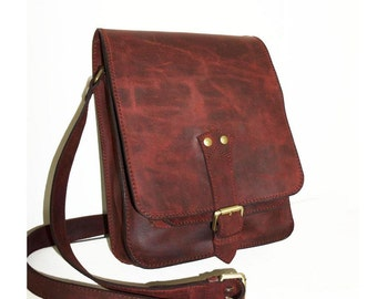 Antic burgundy leather messenger bag // Leather CROSS-BODY BAG // fits a 11 laptop and ipad