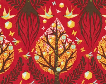 "LAMINATED Cotton  - Cinnamon Trees of Life, 56"" Wide, BPA & PVC Free"